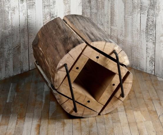 Rustikální židle vyrobená z kmene stromu