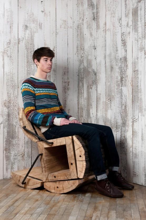 rustikální židle z kmene stromu fotografie