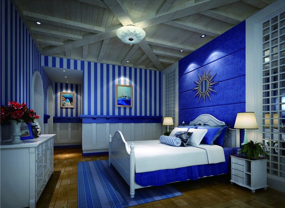 Bedroom-with-a-bold-blue-interior-and-a-harmonious-atmosphere