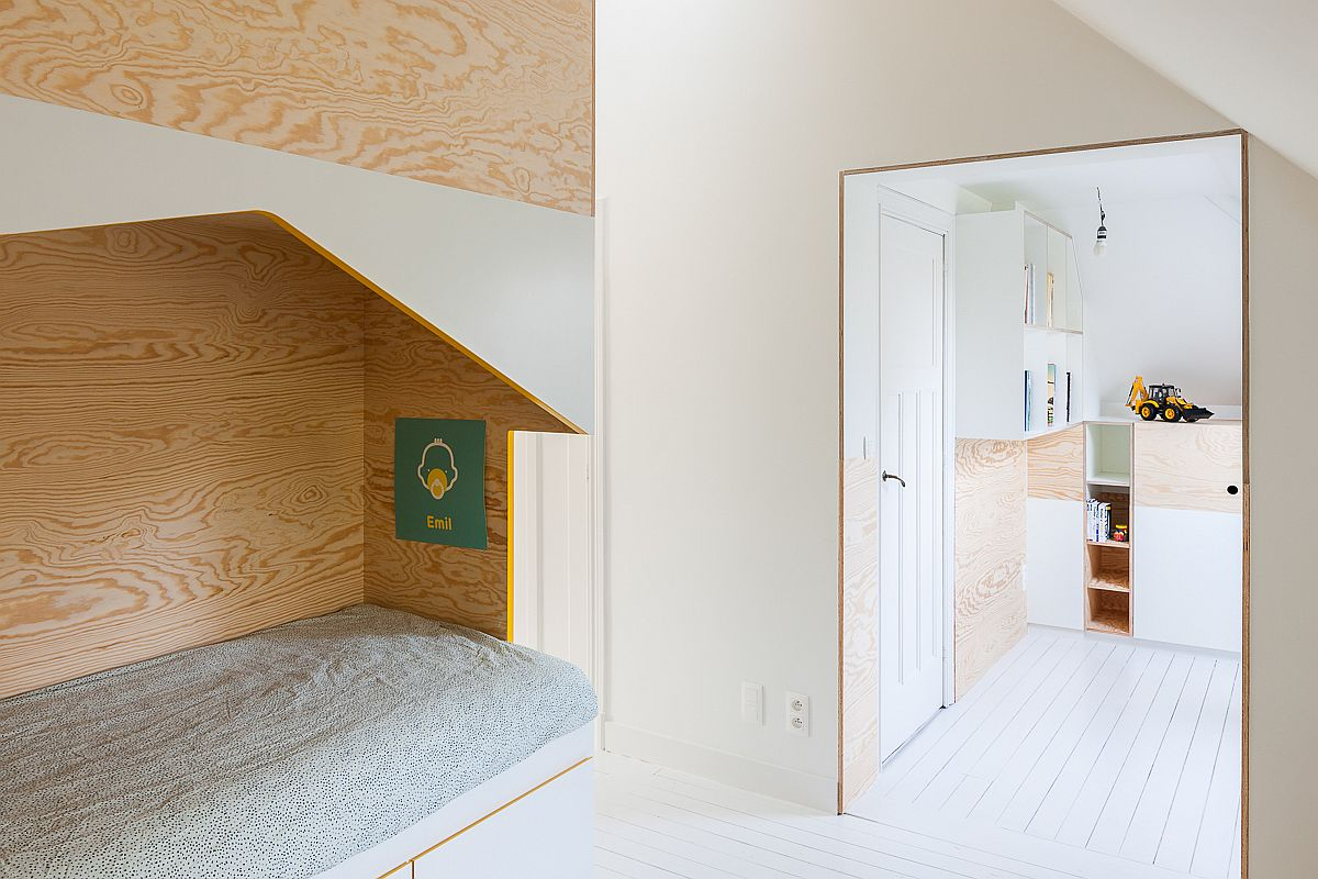 Entrance-to-the-attic-level-kids-room-with-bespoke-loft-beds