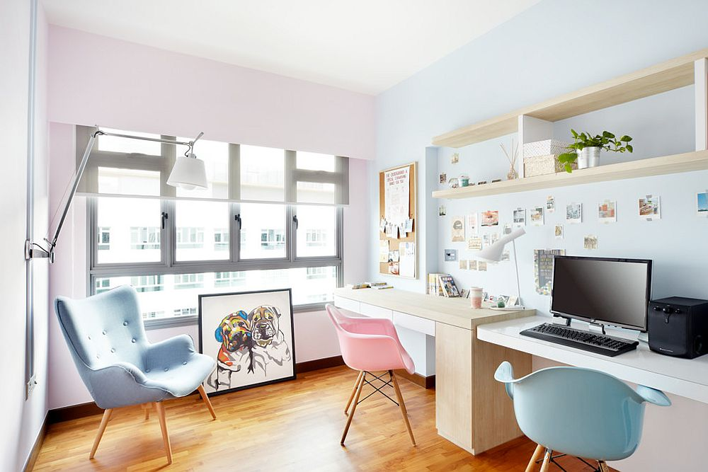 Scandinavian-home-office-enlivened-with-pastel-pink-and-blue